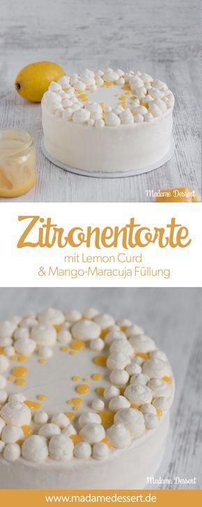 Rezept für fruchtige Zitronentorte mit Mandel-Zitronen-Böden, selbstgemachtem Lemon Curd & Mango-Maracuja Füllung. Dieser Tortentraum eignet sich perfekt für Geburtstage, Valentinstag, Ostern oder andere Feiertage.