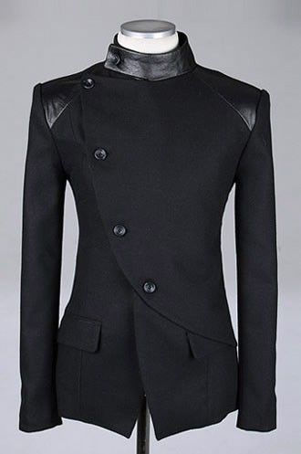 Men Fashion British Style Long Sleeve Slant Buttons Design Black Polyamide Coat M/L/XL@S0-6381-1b
