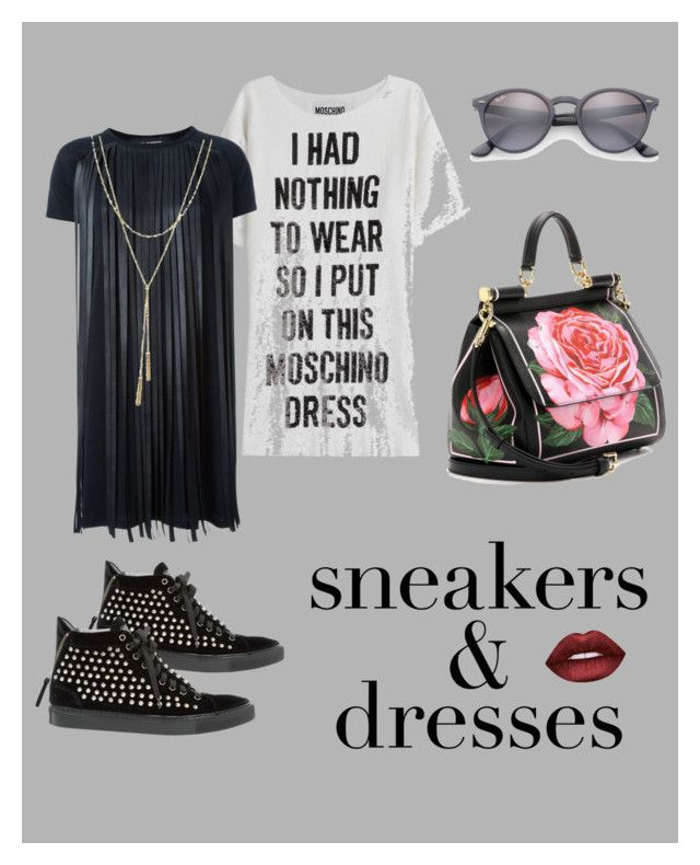 """Sneakers have never been so hot!"" by saralucinda on Polyvore featuring Moschino, Dolce&Gabbana, Ray-Ban, Neil Barrett, GIACOMORELLI, Bloomingdale's and Lime Crime"