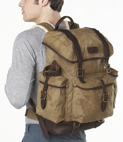 Waxed Cotton Continental Rucksack With Leather Bottom And