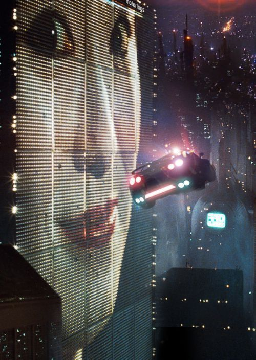 "Ah - the flying car scene from ""Blade Runner."" What a gorgeously designed film, whether Ridley Scott stole everything from Moebius or not."