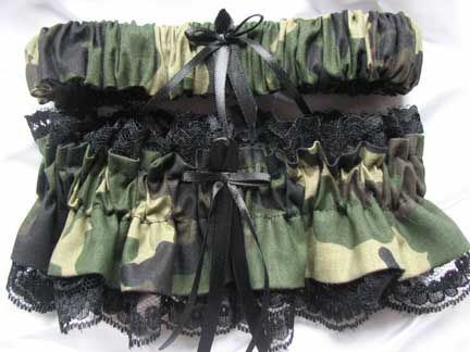 Camo And Black Lace Wedding Garter Set Also Available In White Ivory