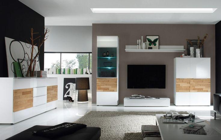 Wohnzimmer Elion Weiss Eiche Wohnwand 310cm Kommode - wohnzimmer modern tapezieren
