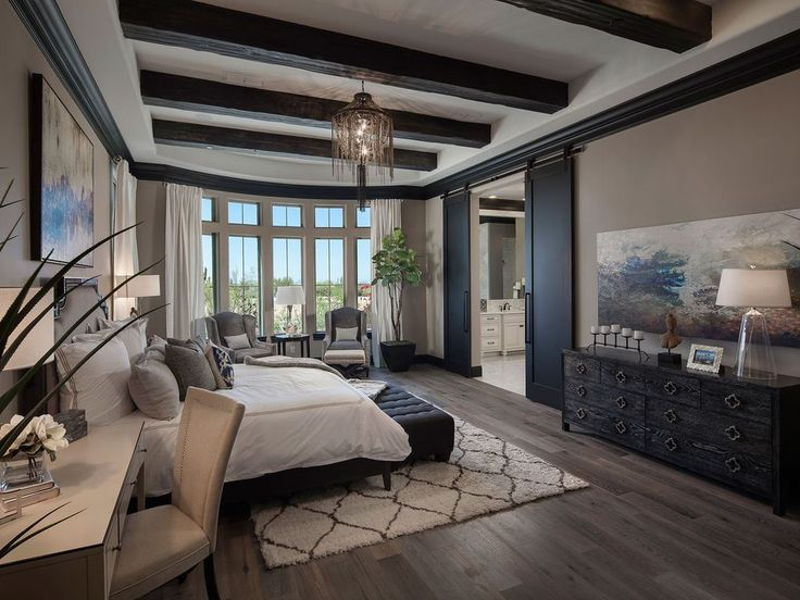 Mediterranean Master Bedroom with High ceiling, Abstract Painting-Promise of…