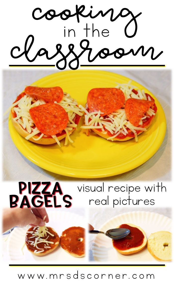 No bake Pizza Bagels - visual recipes for cooking in the classroom, using real pictures. No bake pizza bagel visual recipes for students with special needs.