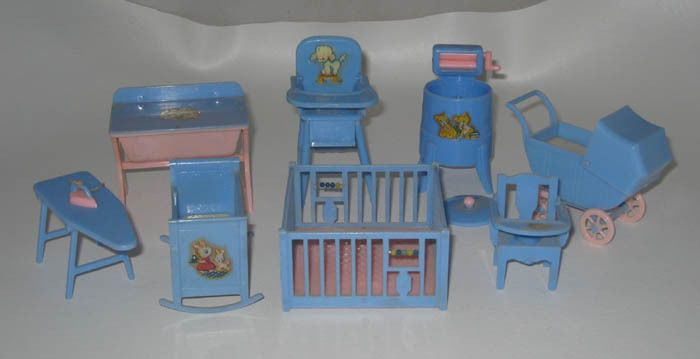 1950 39 S Renwal Plastic Doll House Furniture Nursary Lot Renwall Ebay Vintage Tin Dollhouses