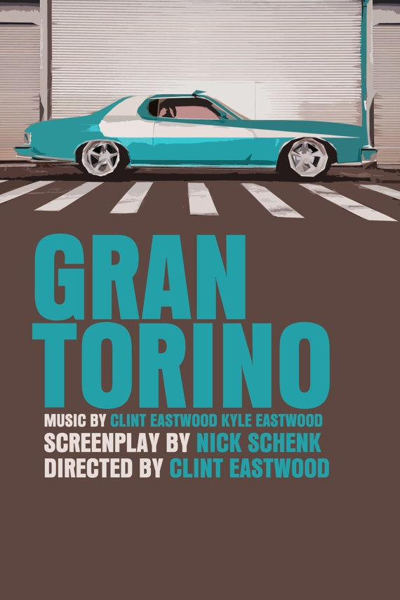 Gran Torino Movie Poster Paper or Plexiglas or by FunnyFaceArt, $15.00