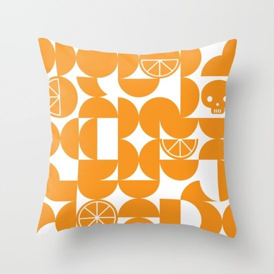 CITRUS SKULL - TANGERINE Throw Pillow by J3 Productions