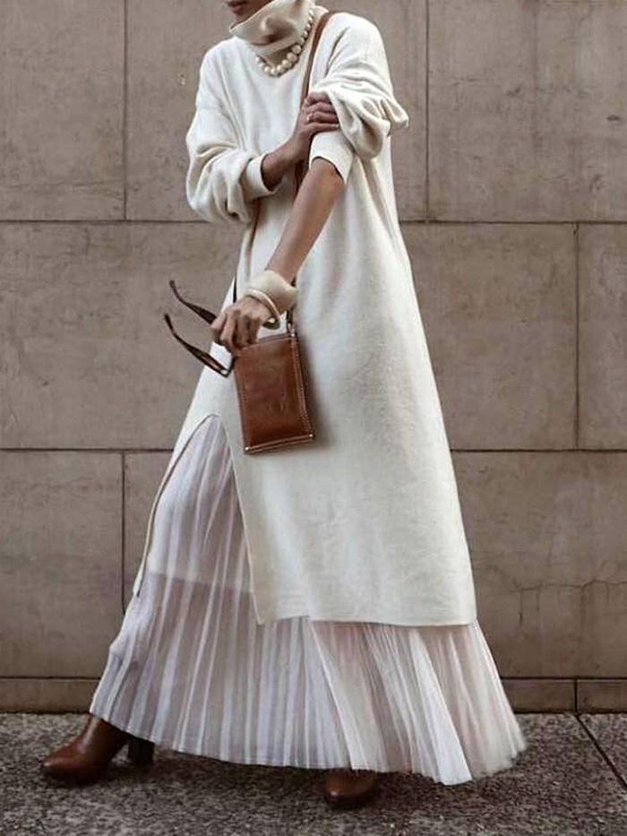 ワンピース comingdress fashion turtleneck sweater dress fashion outfits