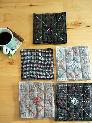 coasters: machine quilted grid with embroidered design on top. so pretty.