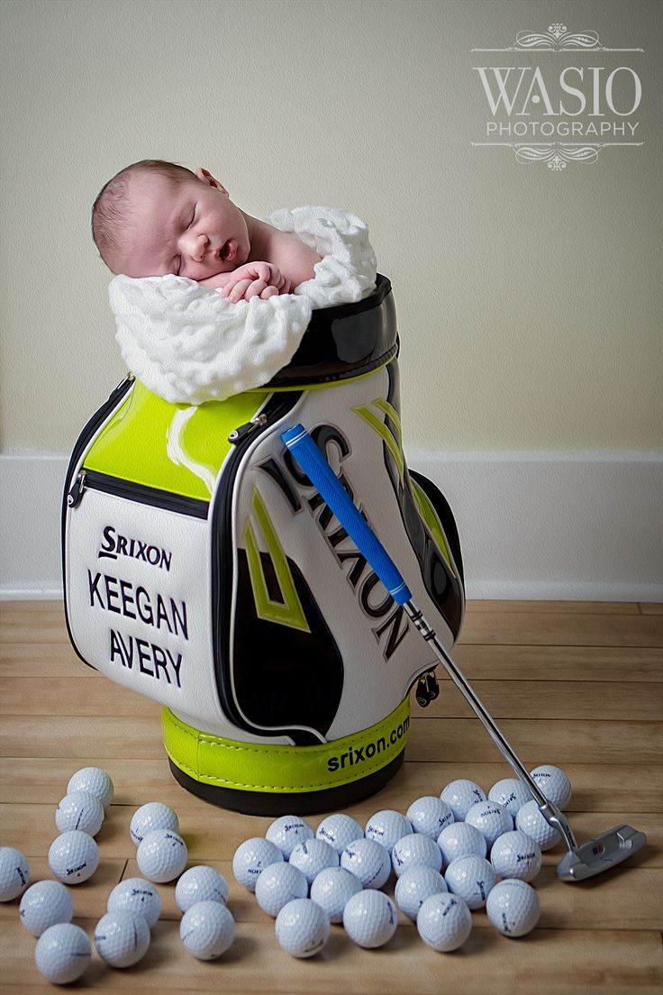 newborn baby photography golf stylized session idea