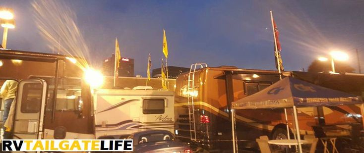 """Add an RV to your tailgating gear"" they said. ""It'll be fun"" they said. #RV #Tailgating #RVgear #RVtips #football"