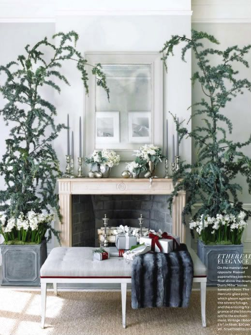 WOW!! This is a really rich look for the Christmas holiday. Everything Fabulous: Holiday Inspiration: Elegant Decor in Green, Silver, & Grey with pops of Red!