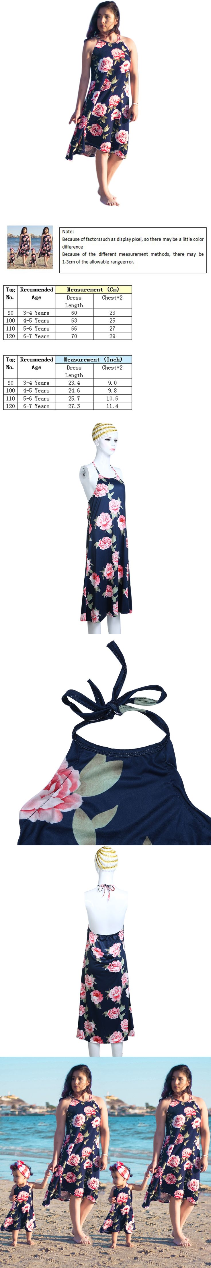 Mom and Baby Family Matching Outfit Clothes Summer Fashion Sleeveless Suspenders Floral Printed Mother Belt Dresses Long Dress