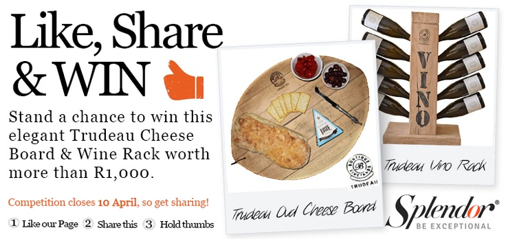 {GIVE-AWAY ALERT!} Take a look at our amazing give-away consisting of a gorgeous Trudeau Cheese Board hand-crafted from french oak wine barrels used in the making of red wine and a stunning Vino Rack that can fit comfortably on your bar or kitchen counter. Stand a chance to win this amazing set, worth over R1,000, by liking our page and sharing this post. Go to http://www.facebook.com/SplendorSA