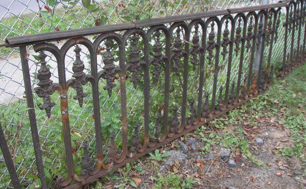 vintage wrought iron fences and gates | 64: Antique Victorian cast iron fence with gate : Lot 64