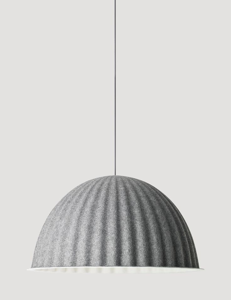 Made from recycled plastic felt, UNDER THE BELL is a large lamp that creates a new space within a space whether hung over the dining room table or on the ceiling. Designed by Iskos-Berlin   #muuto #muutodesign