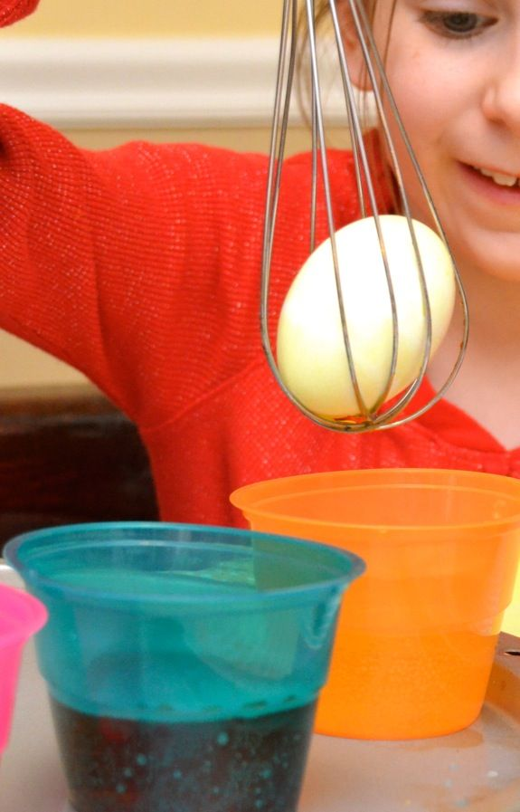 "DYEING EASTER EGGS with a WHISK: To get a good ""grip"" on your egg, place it inside a wire whisk. No need to worry about the egg rolling off of a spoon. Great idea, esp for toddlers and pre-schoolers.    Most egg dyes will STAIN, so wear aprons or old clothing. You may want to cover the floor with an old shower curtain liner and spread newspaper out on the table or counter."