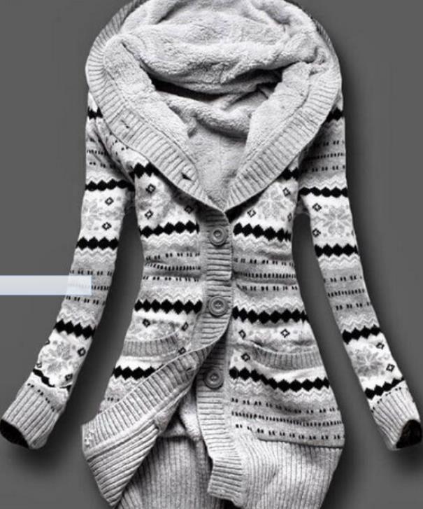 Además de Terciopelo Con Capucha Chaquetas Mujeres Gruesas Calientes Del Invierno Con Capucha de Las Señoras Jersey Largo Knit Patchwork Abrigos de Moda Sudaderas con capucha