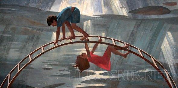 Радуга Эта работа была написана в память о моем друге детства, очень светлом человеке. Мальчик и девочка играют на фоне пейзажа вечности, все циклично, все стремиться к свету, солнцу и радости