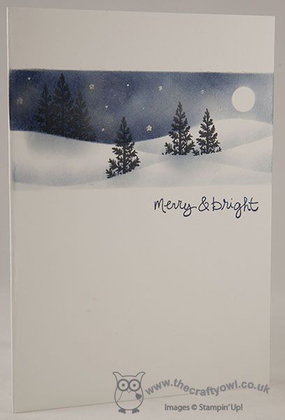 One Layer Festival of Trees Starry Night Card I LOVE this card! Joanne James, Stampin' Up! UK Independent Demonstrator, blog.thecraftyowl.co.uk