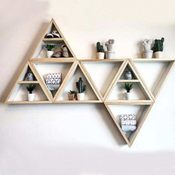 Triangular Wooden Wall Shelf Wooden Wall Shelves Decorating Shelves Wall Shelf Decor