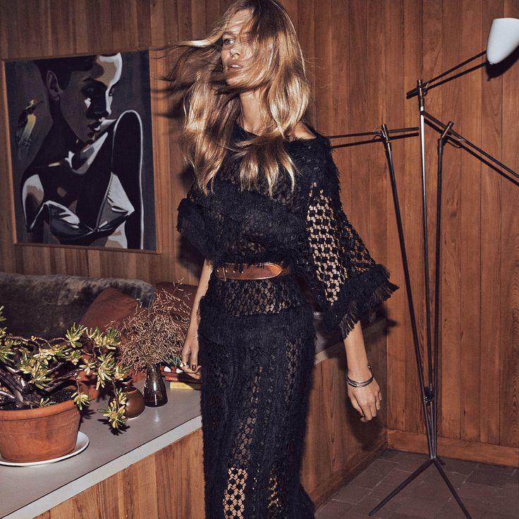 Chloé dress, <em>$6,550,</em> Neiman Marcus, and ring, <em>$560, The Webster Miami,</em> and Saint Laurent by Hedi Slimane belt, <em>$445,</em> and bangles, <em>$545 each, all 212-980-2970</em>