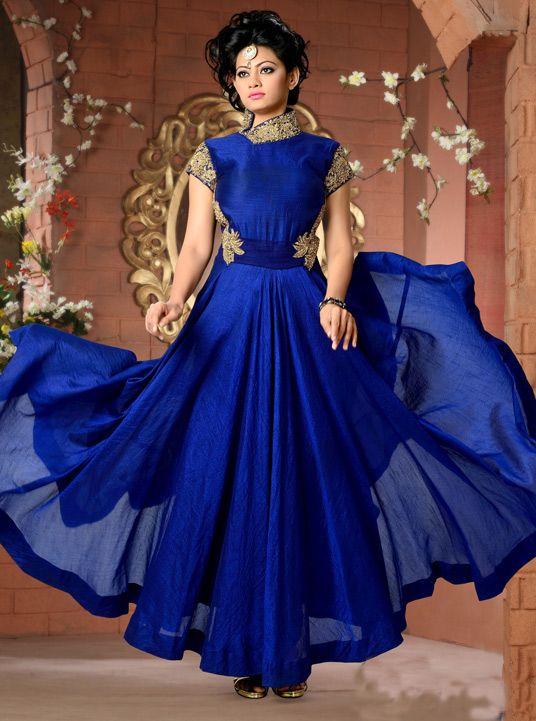 USD 223.78 Royal Blue Art Silk Designer Gown 43773