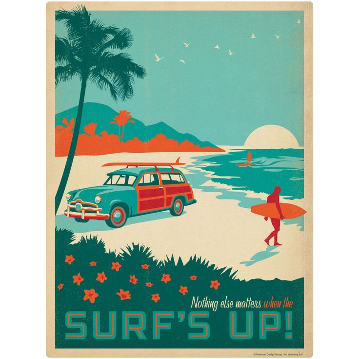 Surfs Up Beach Woodie Wagon Wall Decal | Beach Decor | RetroPlanet.com
