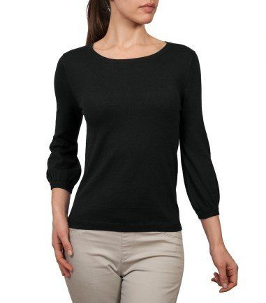 Wool Overs Womens Blouse Sleeved Jumper Black