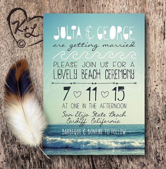 PRINTABLE Bohemian Beach Wedding Invitation Set by KittyLovesLou