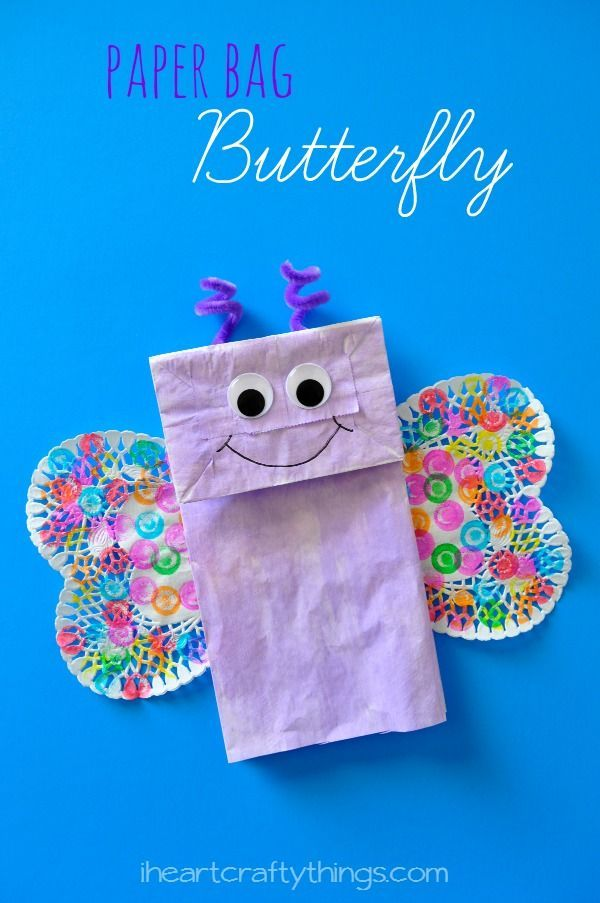 Paper Bag Butterfly Kids Craft from iheartcraftythings.com. Cute spring craft for kids or for learning about butterflies and insects.