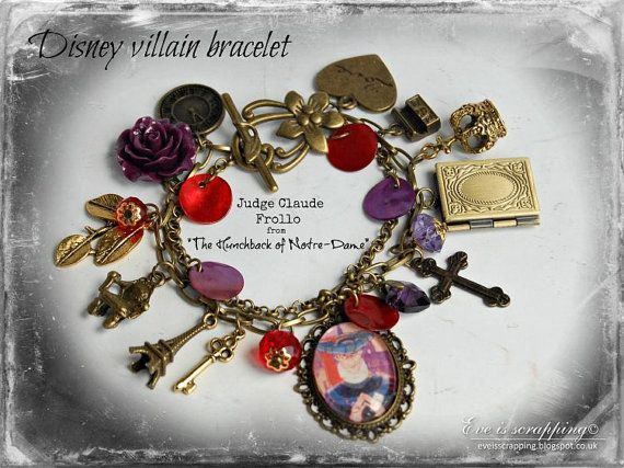Disney inspired Judge Claude Frollo from the Disney The Hunchback of Notre-Dame charms bracelet. Design in red and purple witch few beautiful