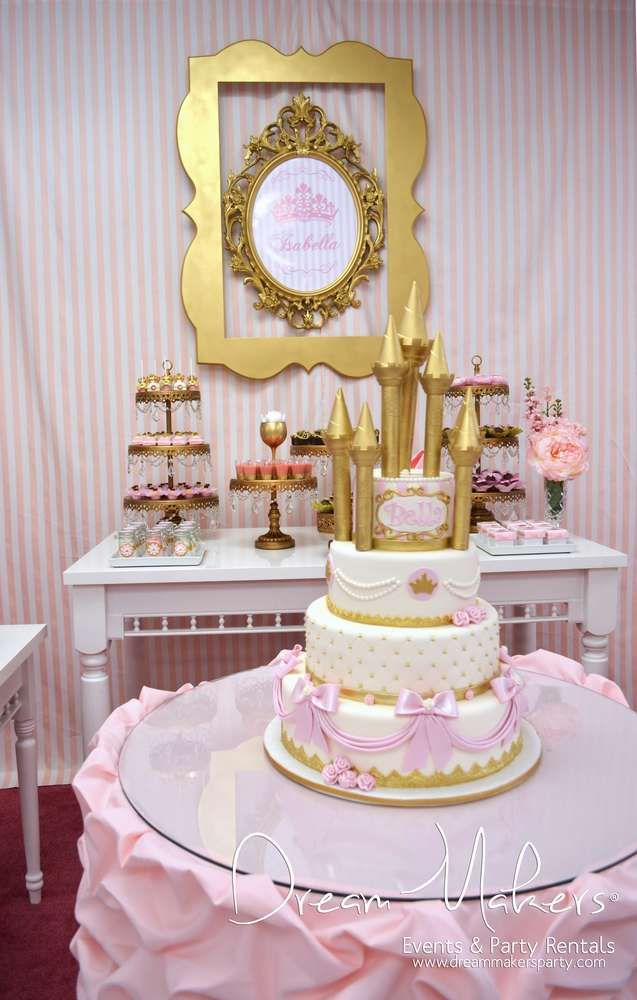 Princess Birthday Party cake! See more party planning ideas at CatchMyParty.com!