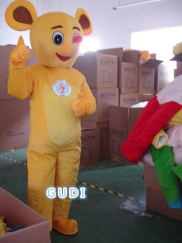 Yellow mouse cartoon mascot costumes Halloween party adult size, free shipping