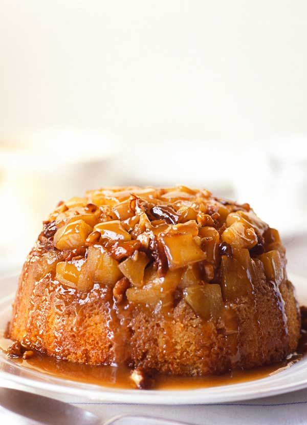 This traditional steamed apple pudding topped with the much-loved sticky toffee sauce is a wonderful toffee apple-flavour combination. It would be delicious for an autumn gathering with crisp walnuts and apples from the garden.
