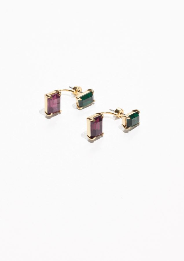 & Other Stories Jeweled Front Back Stud Earrings in Green Bluish Dark