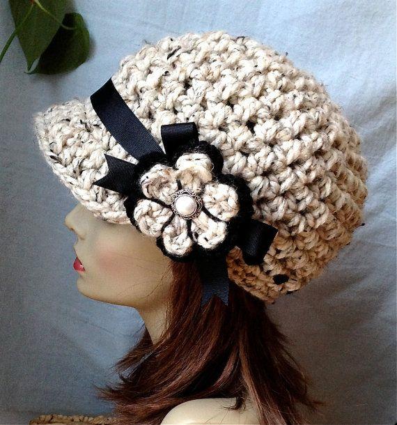 Crochet Womens Hat, Newsboy, Oatmeal, Very Soft Chunky Wool, Flower, Ribbon, Warm, Teens, Winter, Ski Hat, JE808N7