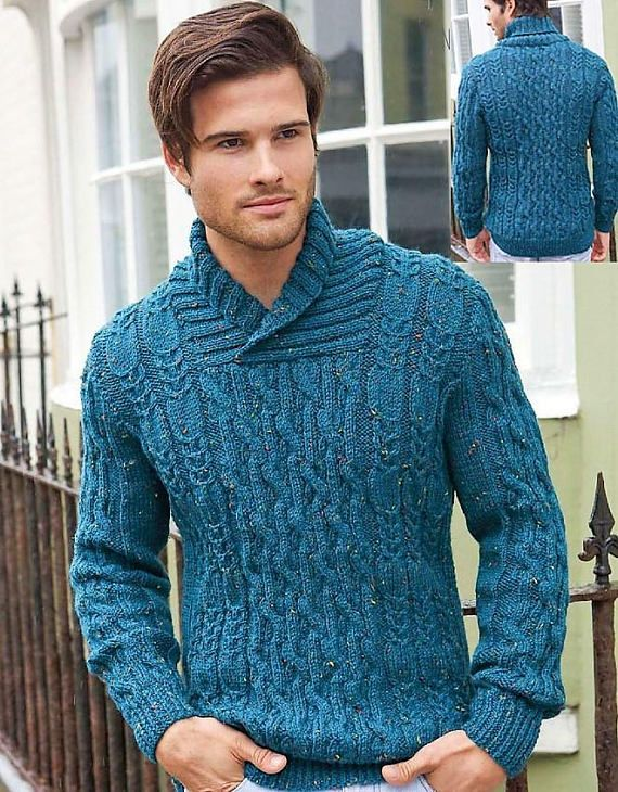 Knitting Pattern Mens Aran Knit Sweater 32 To 54 Inch Chest An