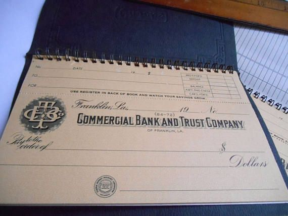 VINTAGE 2 pcs checkbook Commercial Bank and Trust Company #VINTAGE 2 pcs #checkbook #Commercial #Bank and Trust Company #Franklin #Louisiana #Booklet #souvenir #paper #pad #Blank #etsy
