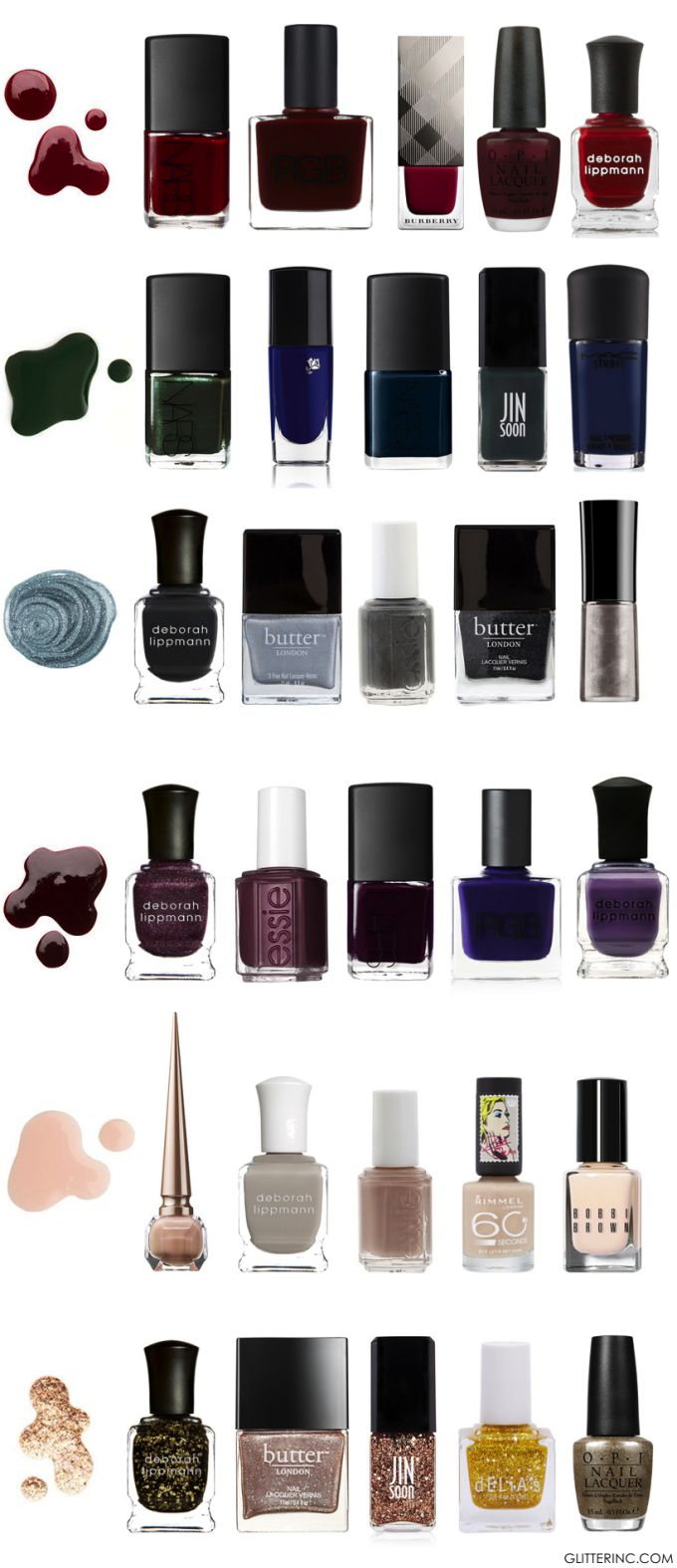 A comprehenxive guide to the very best Fall and Winter Nail Polish shades. #nails #color #beauty Click through for the details.  | glitterinc.com | @glitterinc