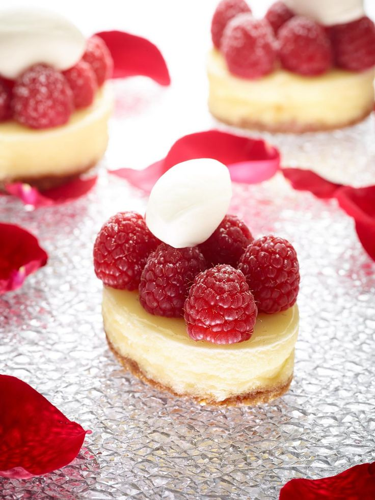 Valentine's Day Mini Raspberry Cheesecakes from the Apple Pie Bakery Café at The Culinary Institute of America.