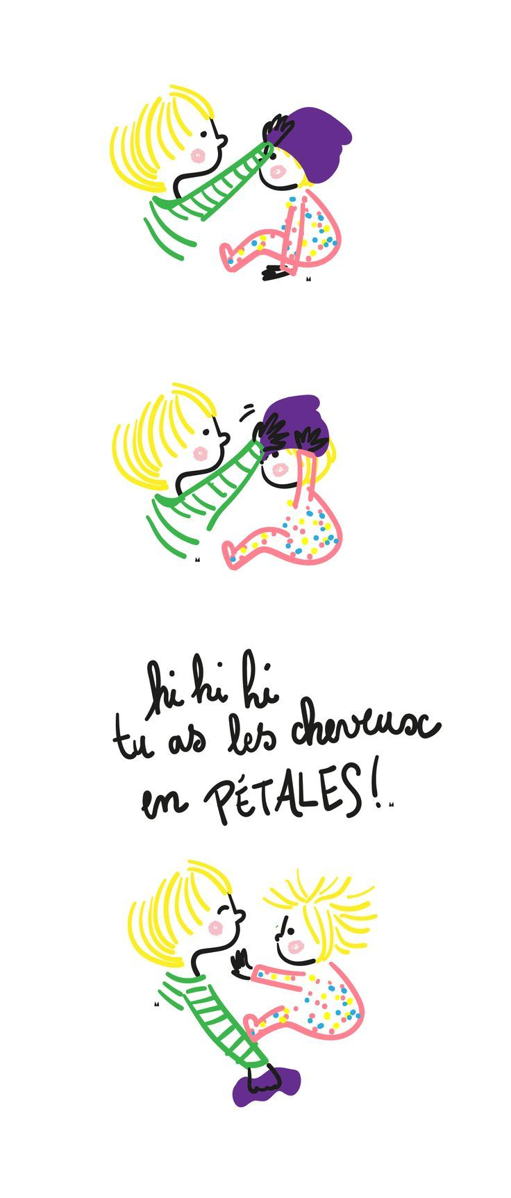 """#motdenfantillustré ou {frian}dise illustrée —  """"Les cheveux en pétard"""" - mot d'enfant illustré par Myzotte."""