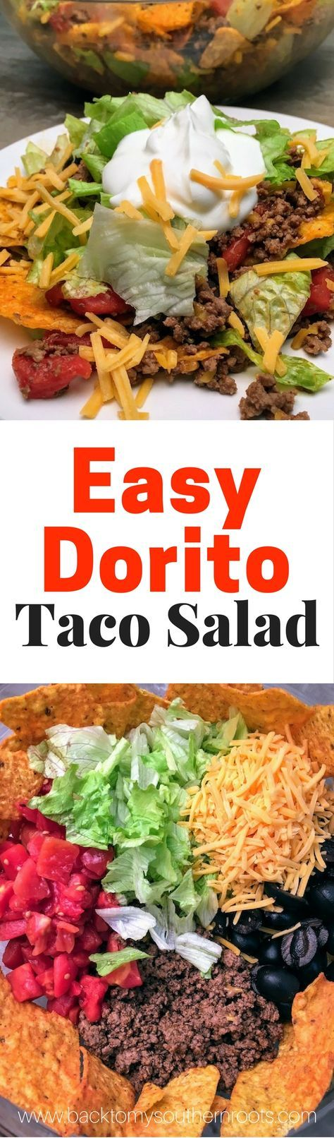 Easy Dorito Taco Salad Recipe is an easy dinner to make. It features spicy taco flavors that will please a crowd. Easy Dorito Taco Salad is perfect for a family supper, a tailgating party, football games, or any holiday. #dorito #taco #salad #supper #dinner