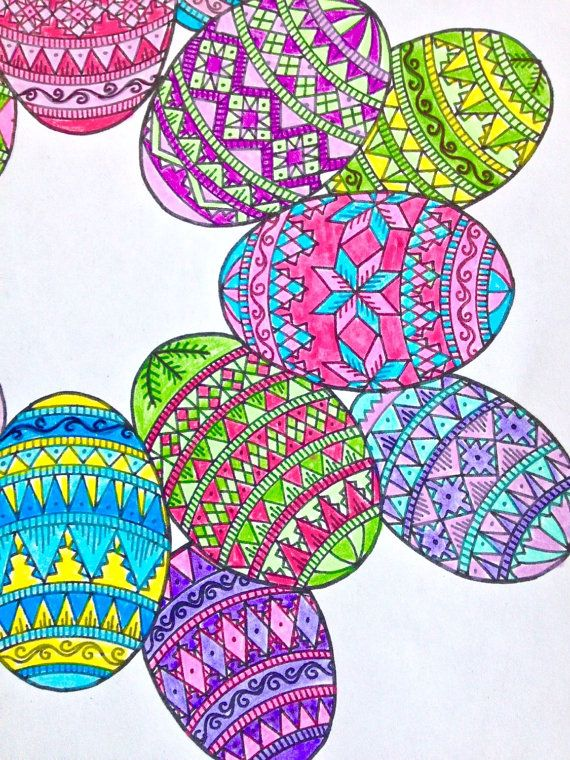 Easter egg wreath intricate coloring page diy instant pdf for What to put in easter eggs for adults