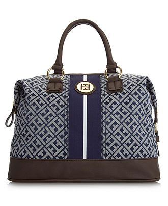 Tommy Hilfiger Handbag, Signature Jacquard Logo Bowler - Sale Clearance - Handbags Accessories - Macy's
