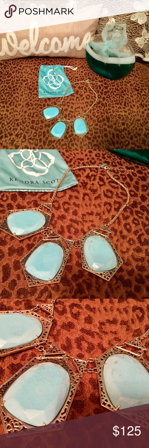 """Kendra Scott Necklace! Kendra Scott absolutely gorgeous Nadeline bib statement necklace in turquoise. 18"""" with 2"""" extender. Retired piece, hard to find. In perfect condition! Kendra Scott Jewelry"""