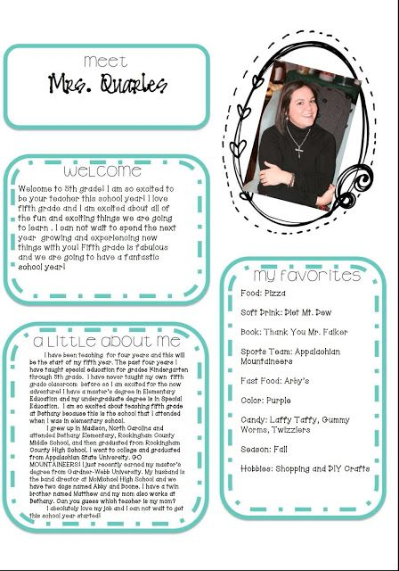 Great template that is editable for Meet The Teacher. The teacher with the blog…