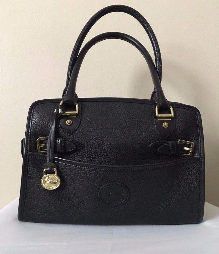 Dooney & Burke Women's Vintage Black All Weather Pebbled Leather Satchel Bag #DooneyBourke #Satchel