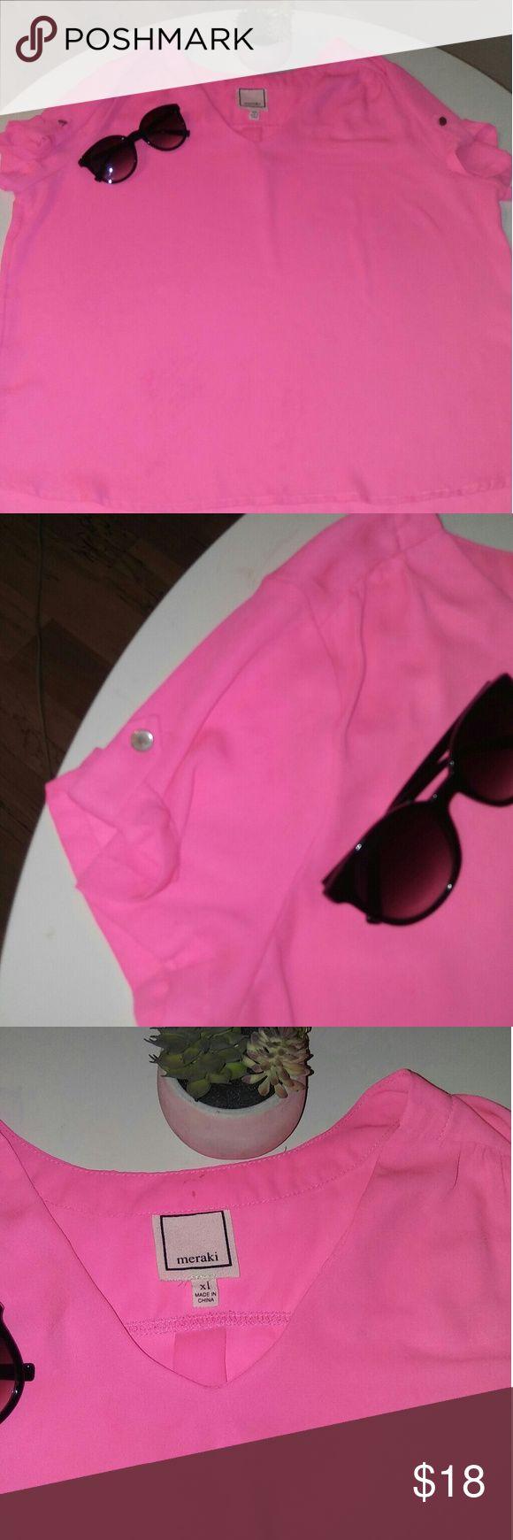 Meraki Hot pink blouse Beautiful hot pink Meraki XL blouse. Perfect fit for any frame meraki Tops Blouses